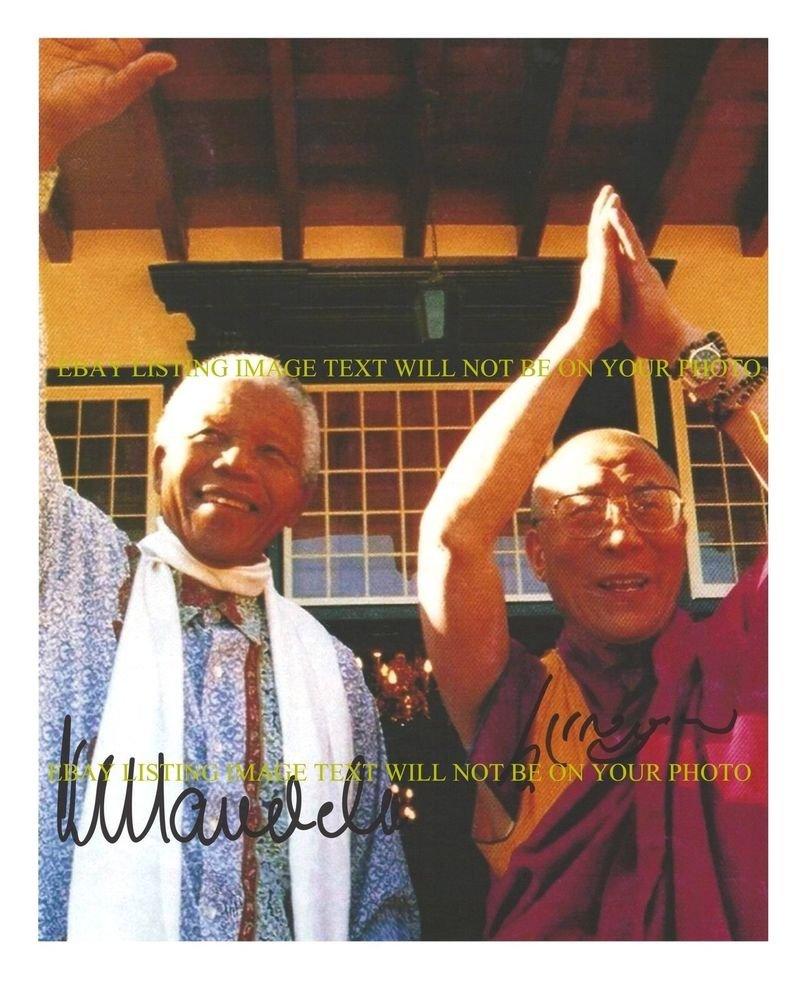 NELSON MANDELA AND DALI LAMA SIGNED AUTOGRAPHED 8x10 RP PHOTO FREEDOM