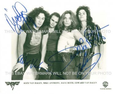 VAN HALEN WITH DAVID LEE ROTH SIGNED AUTOGRAPHED 8x10 RP PHOTO INCREDIBLE CLASSIC BAND