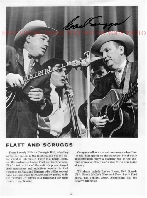 EARL SCRUGGS AUTOGRAPHED 8x10 RP PHOTO BLUEGRASS COUNTRY