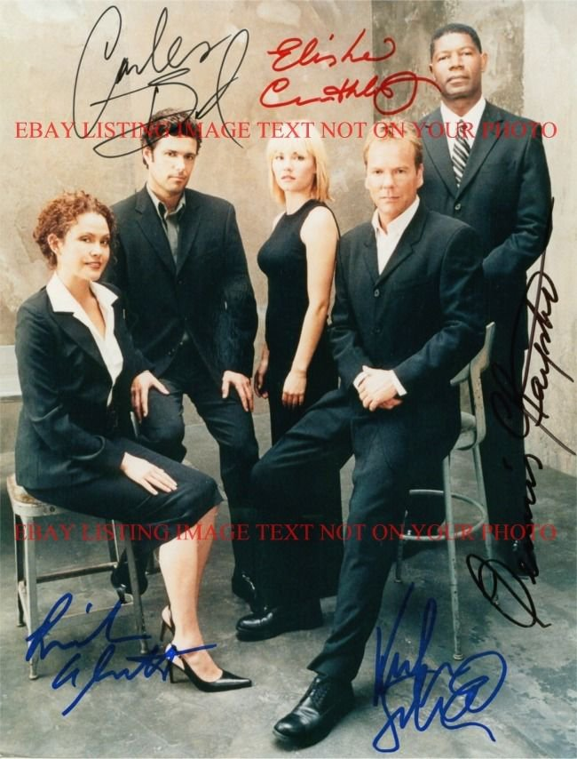 24 CAST AUTOGRAPHED 8x10 RP PHOTO KIEFER SUTHERLAND ELISHA CUTHBERT