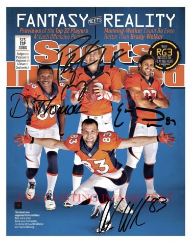 PEYTON MANNING WES WELKER ERIC DECKER AND DEMARYIUS SIGNED AUTOGRAPHED 8x10 RP PHOTO DENVER