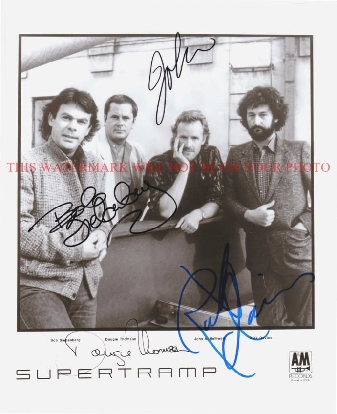 SUPERTRAMP BAND AUTOGRAPHED 8x10 RP PROMO PHOTO GREAT 70's CLASSIC ROCK