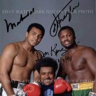 MUHAMMAD ALI DON KING AND SMOKIN JOE FRAZIER SIGNED AUTOGRAPHED 8x10 RP PHOTO