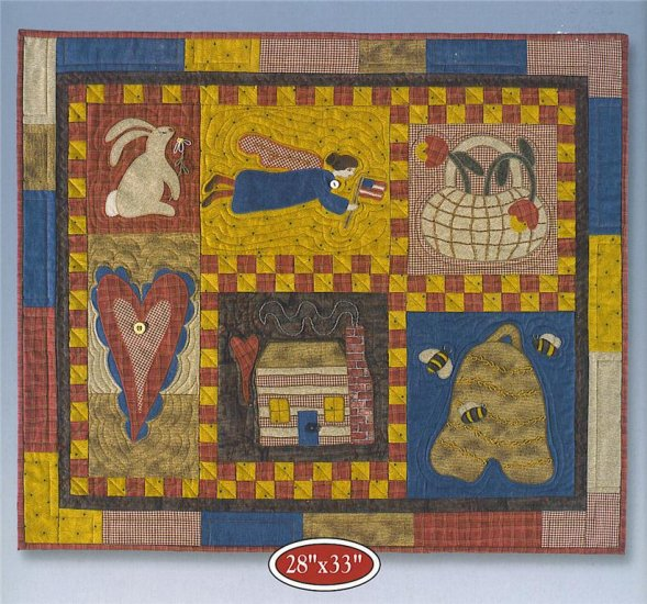Folk Art Sampler Quilt Kit Complete Includes Fabric, Patterns and Detailed Instructions