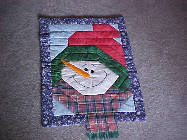 Handmade Quilted Snowman Wall Hanging Hand Quilted
