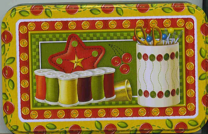 Metal Tin with Sew Sewing Theme