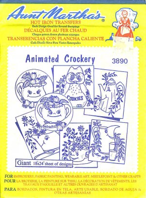 Aunt Martha's Iron on Transfer Animated Crockery 3890 ZDS1
