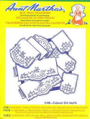 Aunt Martha's Iron on Transfer Colonial Girls Motifs 3188 ZDS1