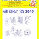 Aunt Martha's Iron on Transfer Happy Birthday Teddy 3949 ZDS1