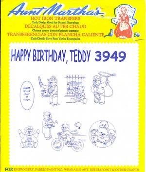 Aunt Martha's Iron on Transfer Happy Birthday Teddy 3949 ZDS1