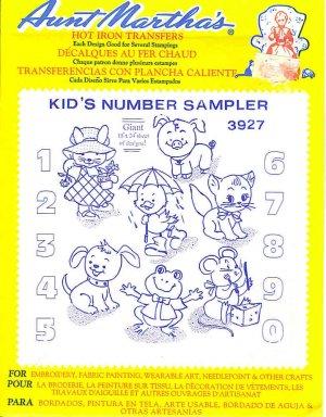 Aunt Martha's Iron on Transfer Kids Number Sampler 3927 ZDS1