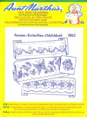 Aunt Martha's Iron on Transfer Pansies Butterflies Child 3862