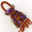 SEQUIN RED & PURPLE PURSE APPLIQUE PATCH ONE OF A KIND