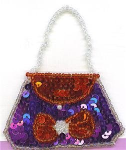 SEQUIN RED & PURPLE PURSE WITH BOW APPLIQUE PATCH ONE OF A KIND