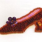 SEQUIN RUBY RED SHOE APPLIQUE OR PATCH ADORABLE