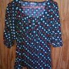 Motherhood Maternity Blouse Red Black and Green Patterened Size Large
