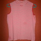 White Stag Ladies Red Striped Mock Turtle Neck Size M