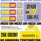 Mas Movil spanish micro Sim card for Spain