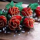 Red w/Gold Trim French Beaded Rose