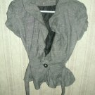 Gray Ruffle Blazer; Girls; SM