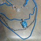 Sea Turtle 3 tier Necklace Blue