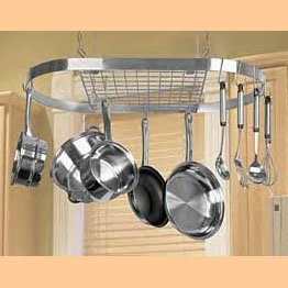Leyse Oval Stainless Steel Hanging Pot & Pan Rack NIB