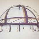 Colorful Purple Porcelain Enamel Pot & Pan Rack Wall Mount NIB