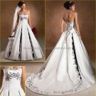 A-line Strapless White Satin Silver Embroidery Wedding Dress Classic Bridal Gown Free Petticoat