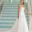 A-line Thin Straps White Chantilly Lace Wedding Dress Classic V-neck Ivory  Bridal Gown