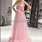 A-line Strpless Pink Satin Tulle Empire Waist Wedding Dress Beaded Ruched Bow Bridal Gown