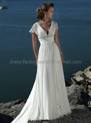 A-line Short Sleeve White Chiffon Wedding Dress V-neck Pleated Beaded Beach Bridal Gown