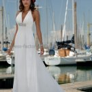 A-line Halter White Chiffon Wedding Dress V-neck Backless Beaded Beach Bridal Gown