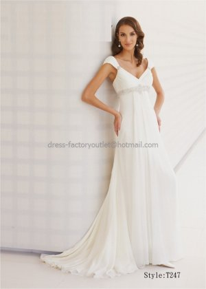 A-line Cap Sleeves White Chiffon Wedding Dress V-neckEmpier Waist Beaded Beach Bridal Gown