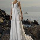 A-line Sleeveless Thin Straps White Chiffon Wedding Dress V-neck Beaded Beach Bridal Gown