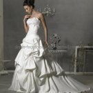 A-line Strapless White Satin Wedding Pleated Royal Bridal Gown & Corset