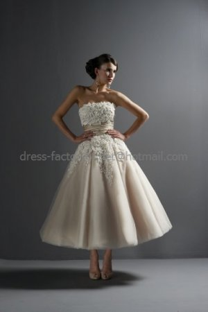 A-line Strapless Champagne Organza Wedding Dress Applique Lace Ankle Length Bridal Gown & Corset