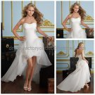 A-line Strapless White Organza Short Wedding Dress Pleated High Front Low Back Hi-lo Bridal Gown