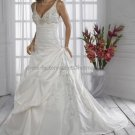 A-line Halter V-neck White Satin Wedding Dress Silver Embroidery Pleated Jeweled Bridal Ball Gown