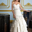 2012 Strpless White Taffeta Wedding Dress Cascading Ruffles Mermaid Bridal Ball Gown