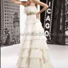2012 Strapless White Ivory Organza Wedding Dress Cascading Ruffles Empire Waist Bridal Ball Gown