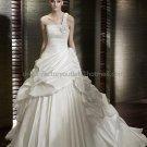 A-line One Shoulder Pleated White Taffeta Wedding Dress Bridal Ball Gown
