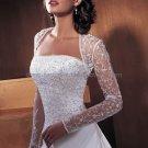 Vintage Strapless White Satin Wedding Dress Free Long Sleeves Jacket Bridal Ball Gown
