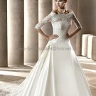 A-line Strapless White Satin Wedding Dress Sz 6 10 12 14 8 Alencon Lace Jacket Bridal Ball Gown