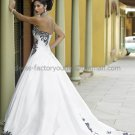 A-line Strapless White Tffeta Wedding Dress Sz 6 10 12 14 8 Black Lace Edge Bridal Ball Gown