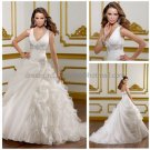 2012 A-line V-neck White Organza Wedding Dress Side-draped Ruffles Bridal Ball Gown