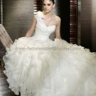 2012 A-line One Shoulder White Organza Wedding Dress Draped Tassels Bridal Ball Gown