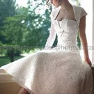 Vintage A-line Strapless White Lace Ankle Length Wedding Dress Sz 6-20 Free Jacket  Bridal Gown