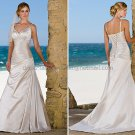 2012 A-line Spaghetti Straps Champagne Satin Wedding Dress Custom V-neck Beach Bridal Gown