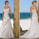 2012 A-line Spaghetti Straps Champagne Satin Wedding Dress Custom V-neck Beach Bridal Gown