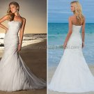 2012 A-line Strapless White Chiffon Wedding Dress Beaded Applique Beach Bridal Gown